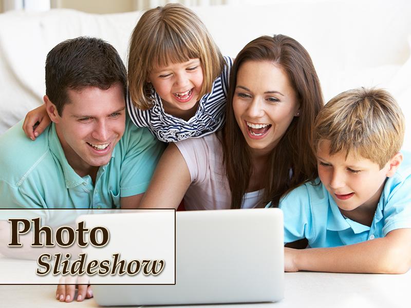 family watching slideshow