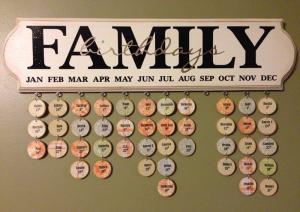 Family birthday board