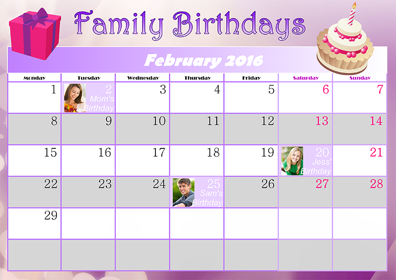 Calendar Monthly Ideas : Family birthday calendar ideas creative photo design