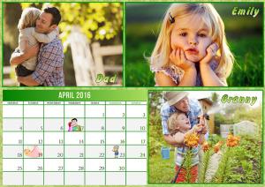 Family calendart with 3 photos