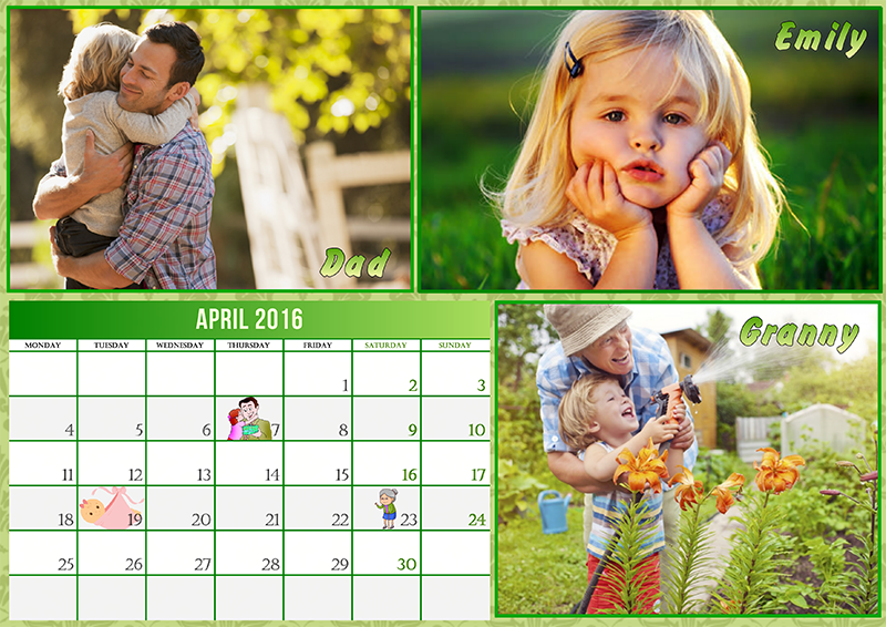 Kids Photo Calendar Ideas : Family birthday calendar ideas creative photo design