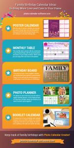 Family calendars infographics