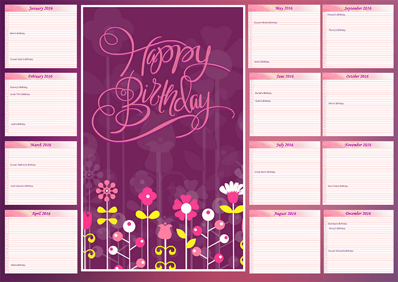 Family birthday calendar ideas creative photo design blog for Family birthday calendar template