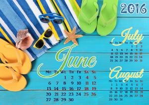 Summer 2016 calendar template