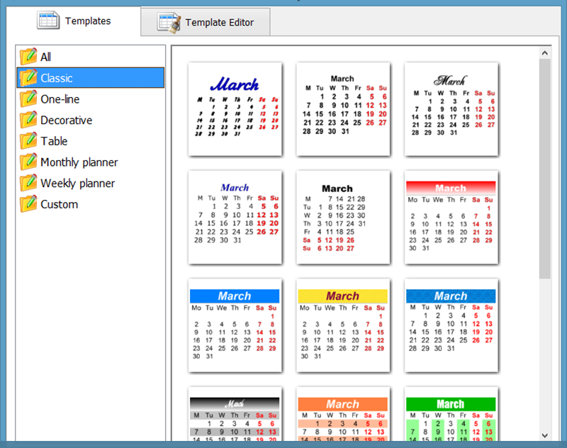 Style of calendar months