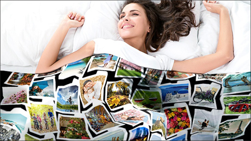 Girl with a photo blanket