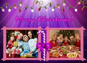 Violet Christmas greeting card