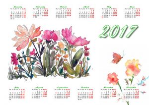 Calendar with watercolor images