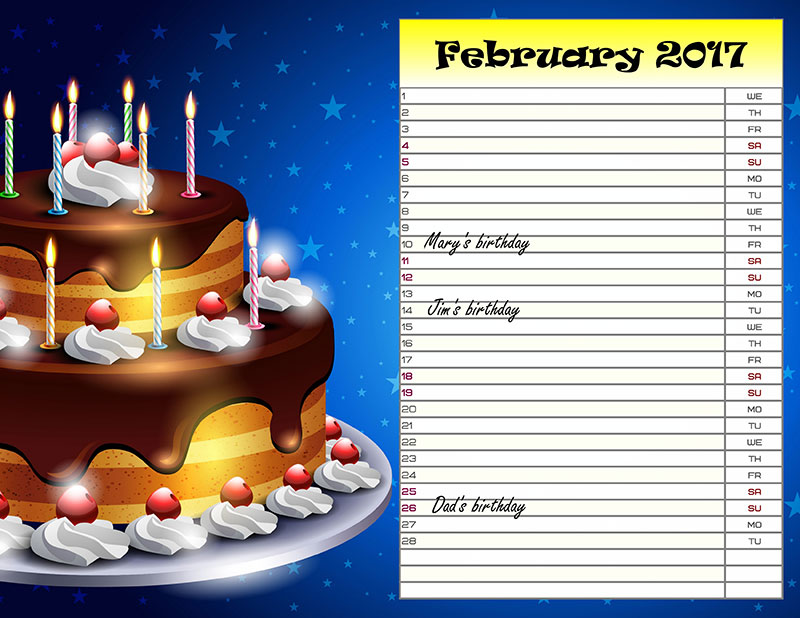 DIY birthday planner