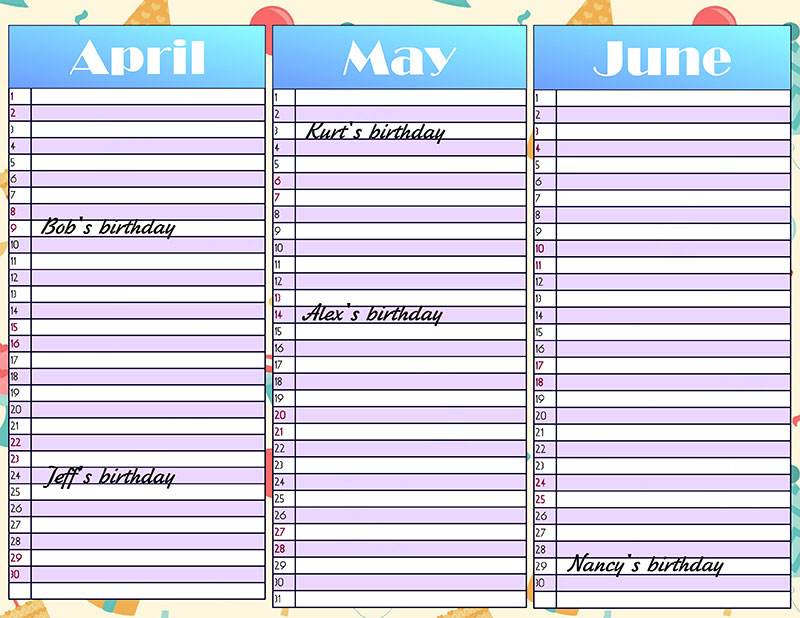 Birthday planner for a quarter