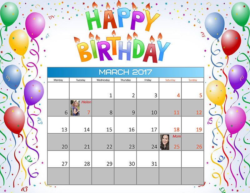 How to create a birthday reminder calendar creative photo for Family birthday calendar template