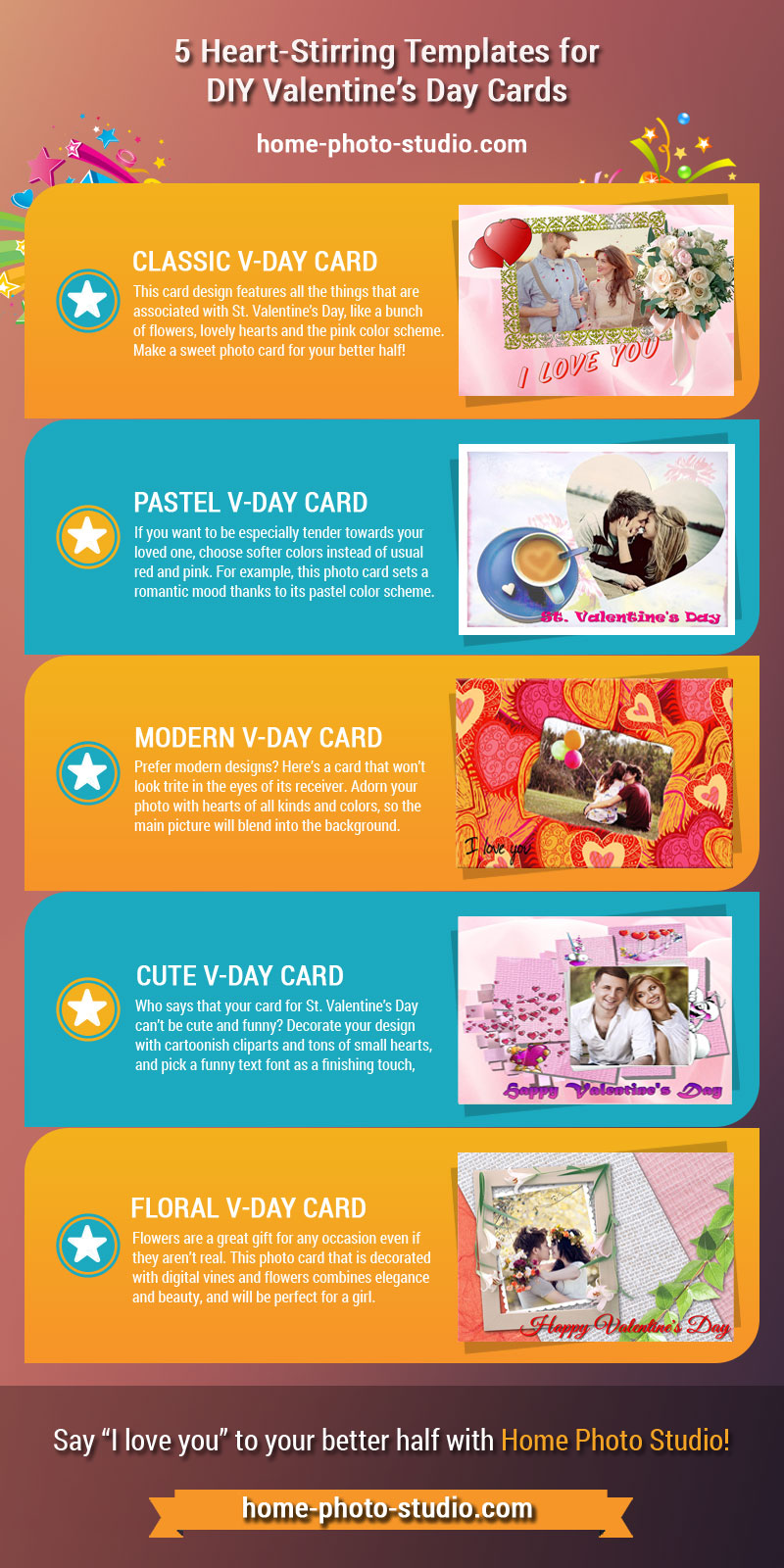 5 photo cards for Valentine's Day