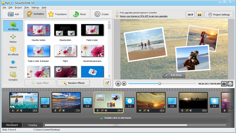 Make slideshow with a story