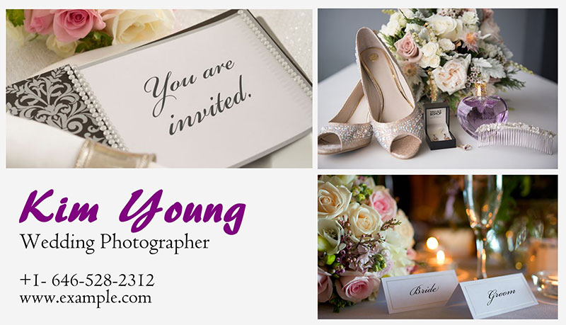 Wedding collage business card