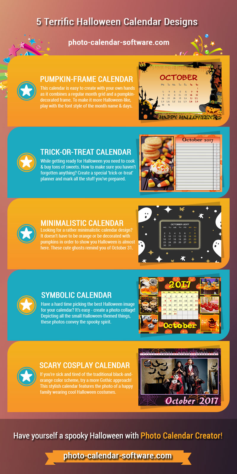 Infographics with Halloween calendars