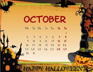 Calendar with a pumpkin frame