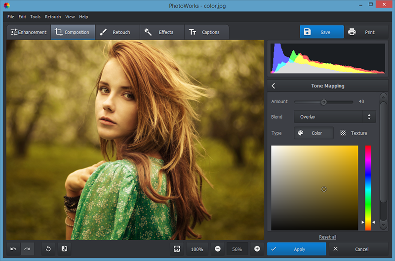 PhotoWorks image editor
